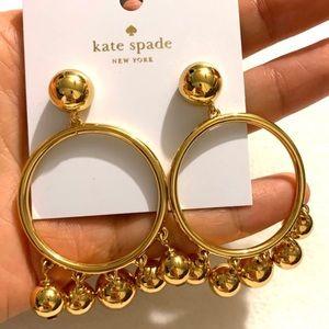 Kate Spade Gold Ball Bauble Drop Hoop Earrings